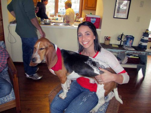 "My niece with her ""child,"" Norman the Basset."